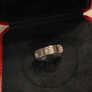 Cartier 3 diamond love ring white gold size 49